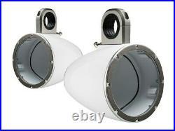 Kicker 43KMTES8W Marine Wakeboard Tower Boat Plastic 8 Speaker Enclosures White