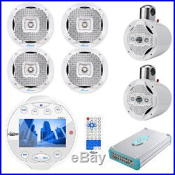 Lanzar Marine Bluetooth Receiver, 2 x 6.5 Wake Board Tower Speakers, Amplifier