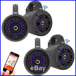 Lot of 4 Pyle 4 Marine Bluetooth Wakeboard Tower Speakers with LED Lights