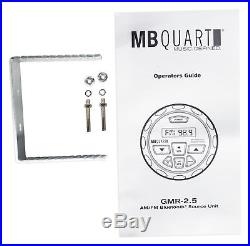 MB Quart GMR-2.5 Bluetooth Receiver+(2) Marine Wakeboard Tower Horn Speakers
