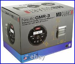 MB Quart GMR-3 Marine Gauge Bluetooth Receiver+(4) 6.5 Wakeboard Tower Speakers
