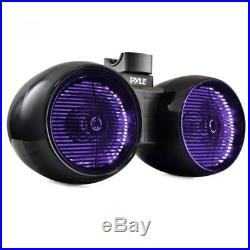 NEW Pyle PLMRWB852LEB Dual 8 Marine Tower Wakeboard Speakers Color Lights 600W
