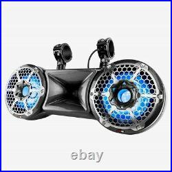 Open Box DS18 Dual 10 Carbon Fiber Wakeboard Tower Marine Speaker RGB 2 Way Pod