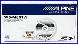 Pair Alpine SPS-M601W 6.5 220w White Marine Boat Wakeboard Tower Speakers