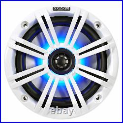 Pair KICKER 45KM654L 6.5 390w Silver Marine Wakeboard Tower LED Boat Speakers