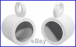 Pair KICKER 45KM654L 6.5 390w White Marine Wakeboard Tower LED Boat Speakers