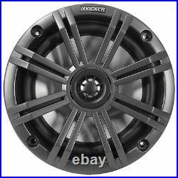 Pair KICKER 45KM654 6.5 390w Black Marine Wakeboard Swivel Tower Boat Speakers