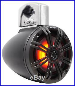 Pair KICKER 45KMTC65 6.5 390w Marine Wakeboard LED Tower Speakers+MTX Amplifier
