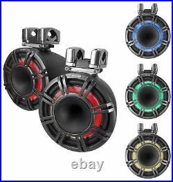 Pair KICKER KMTC9 HLCD 9 600w Horn-Loaded LED Wakeboard Tower Speakers 44KMTC94