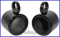 Pair Kenwood 6.5 300 Watt Waterproof Marine Boat Wakeboard Tower Speakers-Black