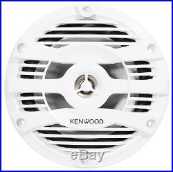 Pair Kenwood 6.5 Silver Marine Wakeboard Tower Speakers+Amplifier+Amp Wire Kit