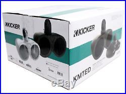 Pair Kicker 12KMTEDW White Dual 6.5 Speaker Wakeboard Tower Enclosures KMTED
