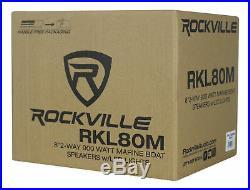 Pair Rockville 8 900 Watt Marine Boat Aluminum Wakeboard Tower Speakers withLED's