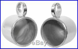 Pair Rockville 8 Polished Silver Aluminum Wakeboard Tower Speaker Enclosures
