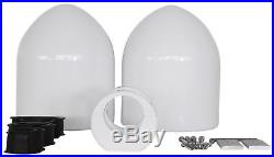 Pair Rockville MAC65W 6.5 White Aluminum Wakeboard Tower Speaker Pods+Covers