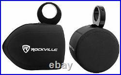 Pair Rockville MAC80B 7.7 Black Aluminum Wakeboard Tower Speaker Pods+Covers