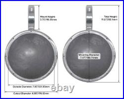 Pair Rockville MAC80W 7.7 White Aluminum Wakeboard Tower Speaker Pod Enclosures