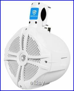 Pair Rockville RWB80W 8 White 2 Way 600 Watt Marine Wakeboard Tower Speakers