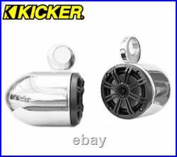 Polished Wakeboard Speaker Kicker 45KM654CW 6.5 Marine Speaker Installed