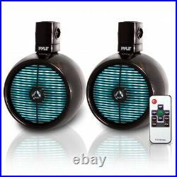 Pyle 8 Inch 480 Watt Marine Rated Tower Wakeboard Speakers, Black (Open Box)