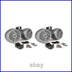 Pyle 8 Inch 600 Watt Marine Dual Tower Wakeboard Speakers, Silver (2 Pack)