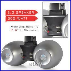 Pyle 8 Inch 600 Watt Marine Dual Tower Wakeboard Speakers, Silver (4 Pack)