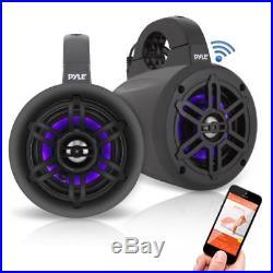 Pyle Bluetooth Black Waterproof Marine Wakeboard Tower LED 4 Speakers (Pair)