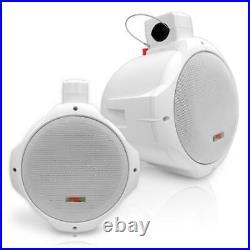Pyle Hydra WaterProof Monster 400w Marine White Boat Wakeboard Tower Speakers