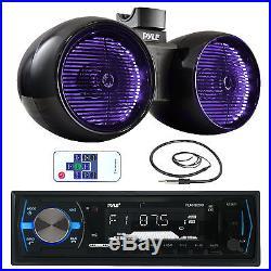 Pyle Marine Bluetooth AUX USB Radio, Antenna, 6.5 Tower Wake Board Speakers