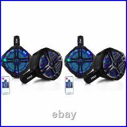 Pyle PLMRWB65LEB 6.5 200W Marine Dual Tower Wakeboard Speakers, Black (2 Pairs)
