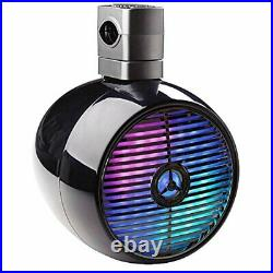 Pyle PLMRWB858LE 8 480W Marine Wakeboard Black Tower Speakers with MultiColor LED