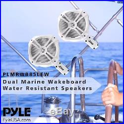 Pyle PLMRWB85LEW Hydra Dual Tower Marine Wakeboard Speakers with Programmable LED