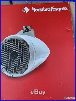 Rockford Fosgsate PM282H-W White 8 Wakeboard Tower Speakers With Horn Tweeter