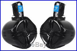 Rockville Bluetooth Receiver+6.5 Black Marine Wakeboard Tower Speakers+Amp+Kit
