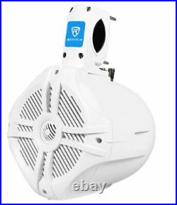 Rockville Bluetooth Receiver+6.5 White Marine Wakeboard Tower Speakers+Amp+Kit