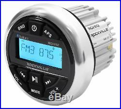 Rockville Bluetooth Receiver+8 Black Marine Wakeboard Tower Speakers+Amplifier