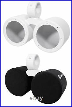 Rockville DMAC65W Dual 6.5 White Aluminum Wakeboard Tower Speaker Pods+Cover