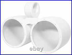 Rockville DMAC80W Dual 7.7 White Aluminum Metal Wakeboard Tower Speaker Enclosu