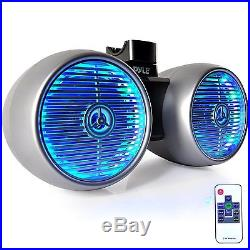 Silver 6.5 LED Wake Board Tower Speakers, Antenna, Bluetooth USB Marine Receiver
