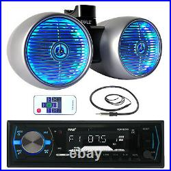 Silver 6.5 LED Wake Board Tower Speakers, Bluetooth USB Marine Receiver, Antenna