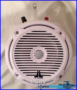 Wake Board Tower Ttop White Can with 2 JL MX650 6.5 Marine Speaker 1.25 Clamp