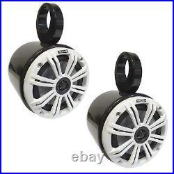 Wakeboarding Tower KICKER 6.5 inch LED Speaker Bullet Pod Set SEPARATES White