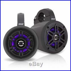 Waterproof Marine Wakeboard Black 4 Tower Speakers With Tweeters (pair) New