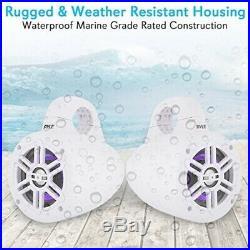 Waterproof Marine Wakeboard Tower Speakers 4in Dual Subwoofer Speaker Set withL