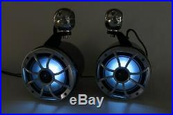 Wet Sounds 6.5 Wakeboard Tower Speakers With RGB LEDs Black NEW