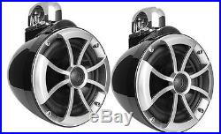 Wet Sounds Icon 8 B-SC 8 black wakeboard tower speakers with swiveling clamps